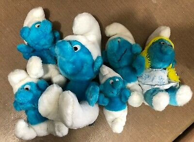 Vintage Smurf Stuffed Toys - Lot of 6