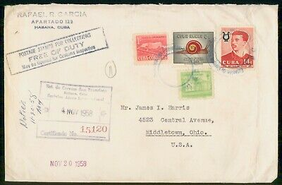 Mayfairstamps Habana 1958 Registered to Middletown OH Cover wwe_91091