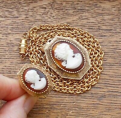 Vintage Luzier Cameo Solid Perfume or Poison Ring w/ Matching Locket Necklace