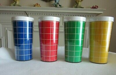 """4 Vtg 1982 Thermo-Serv Insulated Tumblers """"Basic Weave"""" Blue, Red, Green, Yellow"""