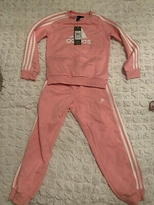 Girls Pink Adidas Tracksuit Age 7-8