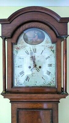 Antique Grandfather Clock, George III, 1786, 8 day fully working, oak cabinet