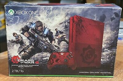 NEW Microsoft Xbox One S 2TB Gears of War 4 Limited Edition Bundle Red Console