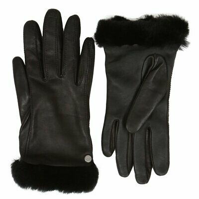 New Nwt Womens Medium Black Ugg Classic Leather Shorty Short Tech Gloves 19033