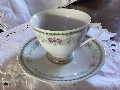 Vintage Fine Bone China Footed Cup and Saucer Pretty Floral Pattern