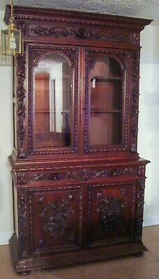 Circa 1860 Scottish Carved Oak Cupboard with Glass Doors