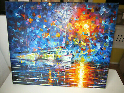 "Original Ölgemälde Von Leonid Afremov 217: ""Yachts By The Sun"""