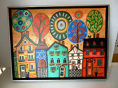 "Karla Gerard: Original Acryl-Gemälde ""Colorful German Houses1"" Gerahmt!"