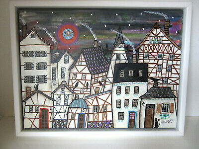 "Karla Gerard: Original Acryl-Gemälde ""The German Village 1"" Gerahmt"