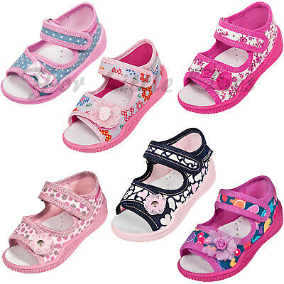 Girls canvas sandals shoes slippers trainers baby kids toddler UK 2.5 -8 nursery