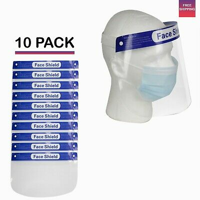 Safety Full Face Shield Cover Washable Reusable Mask ( 10 PACK ) USA Seller