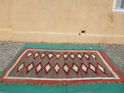Antique Navajo Transitional JB Moore Rug Large Weaving Exceptional
