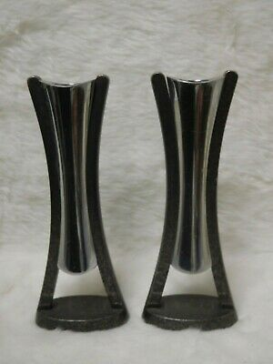 Vintage Mid Century Pair Nambre Neil Cohen Metal Candle Stick Holders