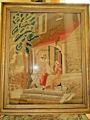 Antique Framed Needlework Embroidery on Silk