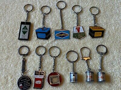 11 Pc LOT of 1960s 1970s Gas Oil Battery Enamel Sign Keychains Texaco Fire Chief