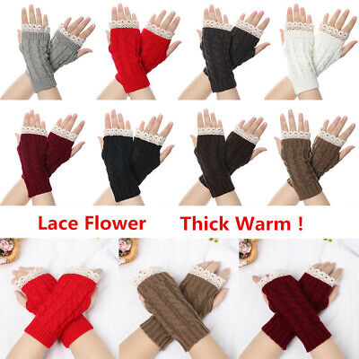 Thick Warm Fingerless Mittens Long Knitted Gloves Arm Warmers Lace Flower