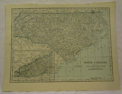 Original 1922 Map of the State of North Carolina
