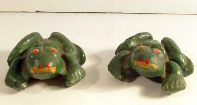 Vintage Pair of Anatomically Correct Cast Metal Painted Frogs 1 Boy & 1 Girl