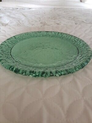 Rare! Fire and Light 💚 Holiday Green 💚 Moonstone Salad Plate!