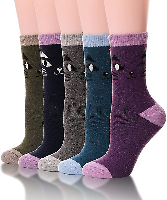 Womens Wool Socks Thick Heavy Thermal Winter Warm Fuzzy Cute Crew Socks For Cold