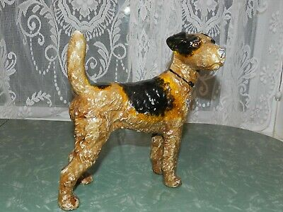 Vtg Cast Iron Wirehair Fox Terrier Airedale Dog Bank Doorstop Statue Sculpture