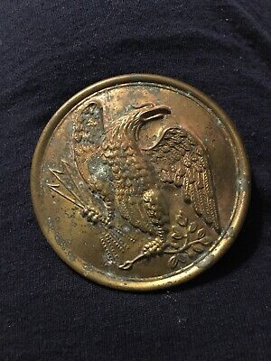 Civil War Brass Eagle Breast Plate ~ Lead Backing ~ Wire Loops on Back