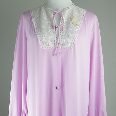 Vintage Vanity Fair Size L Womens Nightgown Robe Lace Sleepwear Large Gown NOS
