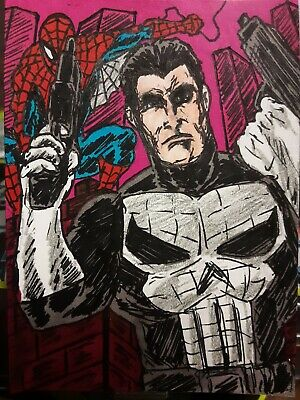 Punisher and Spiderman sketch card 2.5x3.5 by Nate Rosado iamnatetheartist