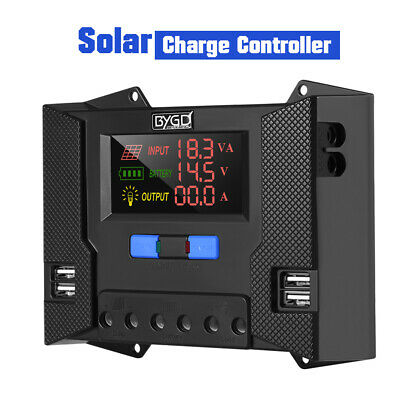 30A Solar Charge Controller Battery Charger Regulator 12V 24V 4 USB 5V Output