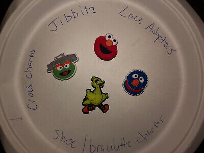 Sesame Street Lot Of 4 Crocs, Bracelet, Lace Adapter Charms, Jibbitz