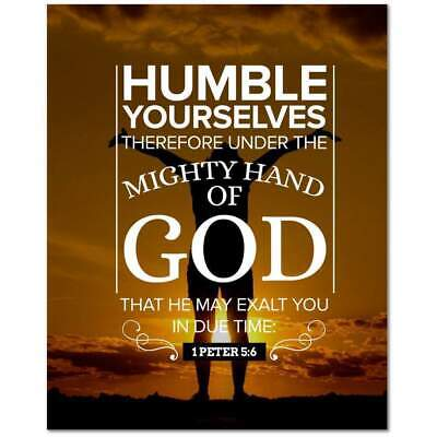 1 Peter 5:6 Bible Verse Printed On Ready To Hang Stretched Canvas Religious Wall