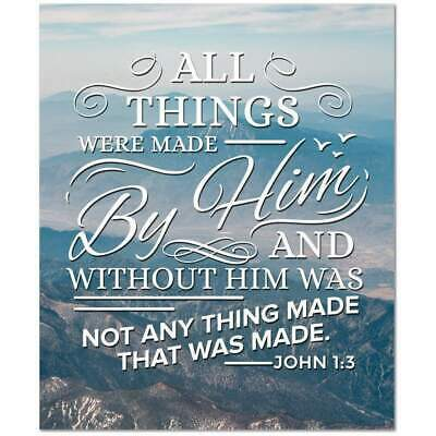 John 1:3 Bible Verse Printed On Ready To Hang Stretched Canvas Wall Art