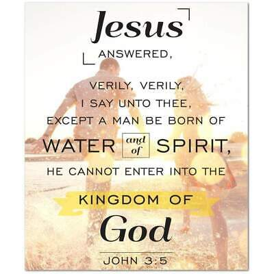 John 3:5 Bible Verse Printed On Ready To Hang Stretched Canvas Religious Wall Ar