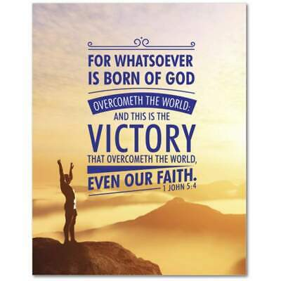 1 John 5:4 Bible Verse Printed On Ready To Hang Stretched Canvas Religious Wall