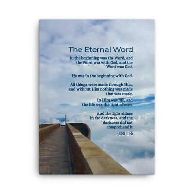 John 1:1-5 Bible Verse Printed On Ready To Hang Stretched Canvas Religious Wall