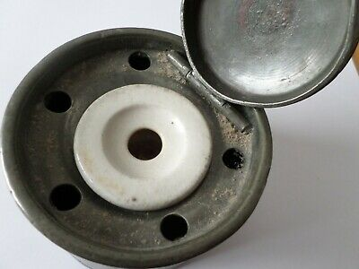 Antique late 19th early 20th century pewter inkwell