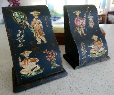 Vintage / Antique Chinese Wood Hand Applied Impasto Painted - Heavy Bookends