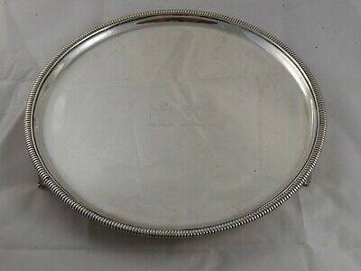 SMART ANTIQUE VICTORIAN SOLID STERLING SILVER SALVER TRAY CRESTED 1880 611 g
