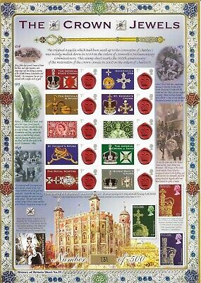 2010 History of Britain - Crown Jewels - Bradbury Business Smilers Sheet - MNH.