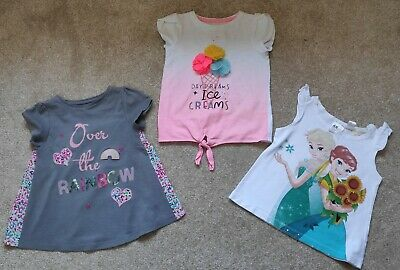 Girls H&M Frozen, Elsa, Tu Ice Cream, F&F Rainbow T-shirts Bundle Age 3-4 Years