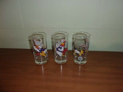 Lot Of 3 Smuckers Foghorn Leghorn Character Glasses Warner Brothers Cartoon