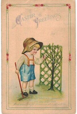Clapsaddle Easter Uns Wolf Blond Boy Rake 1910 A/S