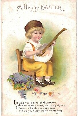 Clapsaddle Easter Boy With Lute 1910 A/S
