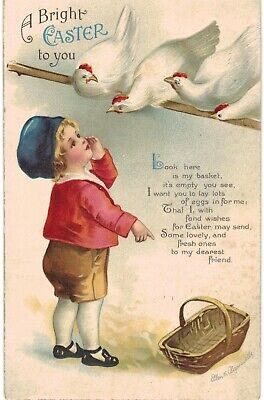 Clapsaddle Easter Boy & Chickens 1910 A/S
