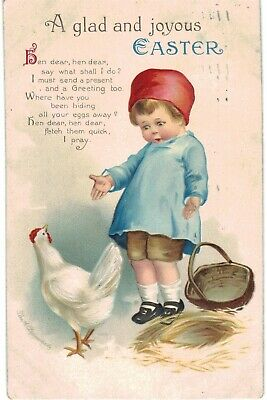 Clapsaddle Easter Cute Child Hen Without Eggs 1910 A/S