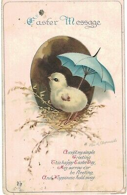 Clapsaddle Easter Chick With Blue Umbrella 1910 A/S