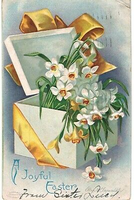 Clapsaddle Easter White Flowers In A Box 1910 A/S