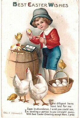 Clapsaddle Easter Boy Red White Blue White Hens Paints Egg 1910 A/S