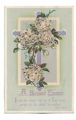 Easter Clapsaddle A/S Bead Applique Flowers 1910 Unused