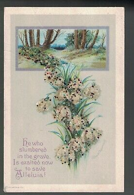 Clapsaddle Easter Bead Applique Flowers 1910 A/S